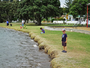 King Tide Mangere Bridge, Manukau Harbour. High tide 1.21pm. No beach to play on, but this little boy was super excited about the king tide. Mangere Bridge Reserve, Manukau Harbour 1.21pm