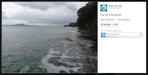 Example of sharing King Tide photos via facebook