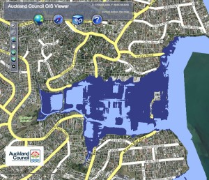 Browns Bay 50 Year Annual Return Interval 1m and 2m Sea Level Rise